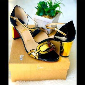 Christian Louboutin Patent Block Heel Sandals